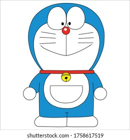 Happy Smiling face Doreamon cartoon full body Vector