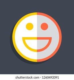 Happy smiling face icon in flat style. Emoticon smile icon or emoji sign on dark gray background. This design graphic element is saved as a vector illustration in the EPS file format.
