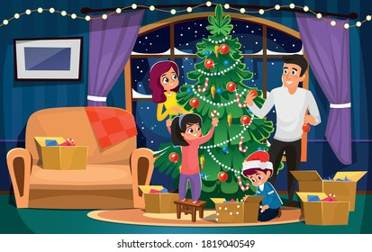 Happy smiling family decorating Christmas tree. Mother, father, son and daughter in living room interior with fireplace in flat cartoon style. Parents and children Christmas design.Vector illustration