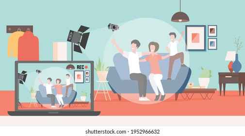 Happy smiling family making video blog about their life vector flat illustration. Mother, father and son sitting on sofa and streaming, recording vlog or podcast. People make content for social media.