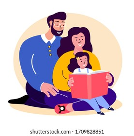 Happy Smiling Family.Father,Mother and Daughter Reading Book Together.Young Adult Parents. Baby, Girl, Dad,Man,Woman, Child Kid.Loving Caring Mom and Papa.Relatives Having Fun.Flat Vector Illustration