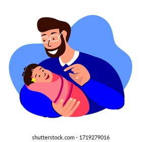 Happy Smiling Family.Loving Man Talking,Dandling,Playing with Newborn Baby Caring,Nursing in Hands.Paternity Father Lullaby.Dad, Cheerful Child. Fatherhood Support. Birth Kid. Flat Vector Illustration