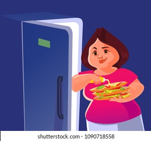 Happy smiling fat big woman standing near refrigerator and eating burger over night. Unhealthy eat fast food lifestyle cartoon flat isolated illustration