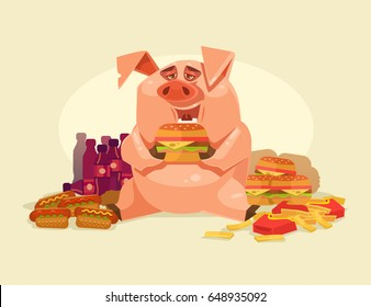 Happy smiling fat pig character eating unhealthy fast food. Obesity problems. Vector flat cartoon illustration