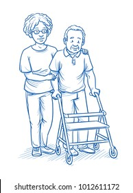 Happy smiling female carer or nurse and elderly male patient with a walker. Mixed ages and ethnic groups. Hand drawn line art cartoon vector illustration.