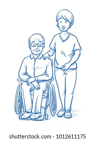 Happy smiling female carer or nurse and elderly male patient in a wheelchair. Mixed ages and ethnic groups. Hand drawn line art cartoon vector illustration.