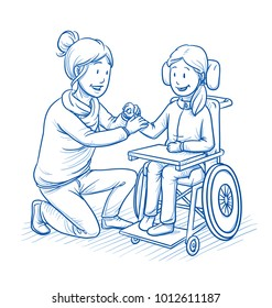Happy smiling female carer, nurse or mother and young female disabled patient or daughter, child in a wheelchair. Mixed ages. Hand drawn line art cartoon vector illustration.