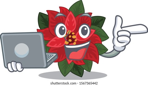 Happy smiling flower poinsettia cartoon character working With laptop
