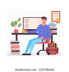 Happy smiling freelance worker man character sitting at computer drinking coffee and relax. Home workplace workspace concept. Vector flat cartoon graphic design illustration