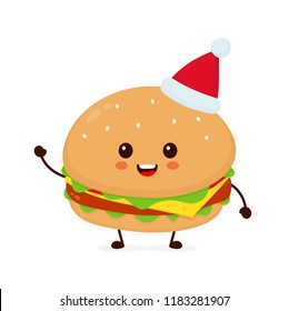 Happy smiling funny cute burger in christmas hat. Vector flat cartoon character illustration icon design. Isolated on white background. Burger, fast food cafe, junk food,christmas, new year concept