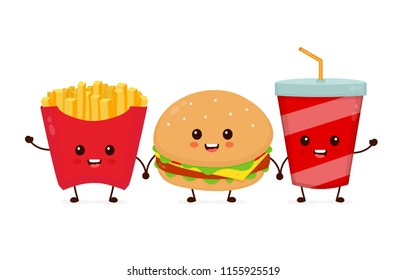 Happy smiling funny cute burger,soda and french fries friends. Vector flat cartoon character illustration kawaii icon design. Isolated on white background. French fries, burger,fast food cafe  concept