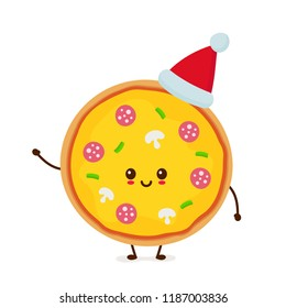 Happy smiling funny cute pizza in christmas hat. Vector flat cartoon character illustration icon design. Isolated on white background. Pizza, fast food cafe, junk food,christmas, new year concept