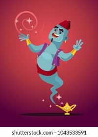 Happy smiling Genie man mascot character from magic lamp. Vector flat cartoon illustration
