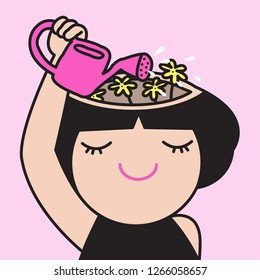 Happy Smiling Girl Watering Flower In Her Brain Head Concept Card Character illustration