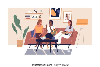 Happy smiling girlfriends sitting on comfy sofa or couch at cosy home. Three diverse multiethnic women chatting in modern scandinavian living room. Female friendship. Flat vector illustration