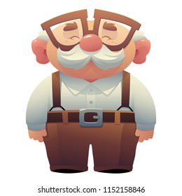 Happy smiling grandfather, wearing glasses with a mustache EPS8 vector