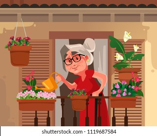 Happy smiling granny grandma grandmother watering flowers plant. Retirement hobby flat cartoon graphic design concept illustration