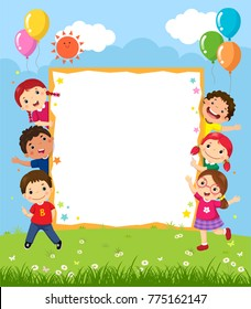 Happy smiling group of kids showing blank board