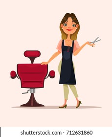 Happy smiling hairdresser woman character is waiting for client. Vector flat cartoon illustration