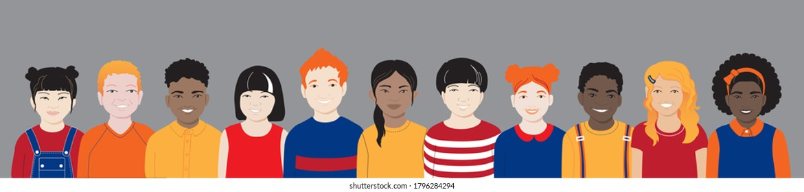Happy smiling international group of kids in row. Diverse multicultural friends cheerful cute african american, asian, chinese, redhead, blond boys, girls stand together. Colorful bright vector banner