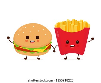 Happy smiling kawaii cute burger and french fries friends. Vector flat cartoon character illustration icon design. Isolated on white background. French fries, burger,fast food cafe, junk food concept