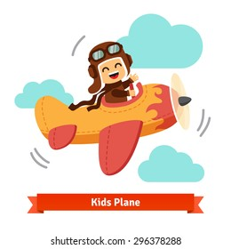 Happy smiling kid flying plane like a real pilot in retro leather flight helmet. Flat style cartoon vector illustration.