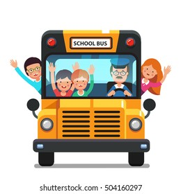 Happy smiling kids riding on a school bus with a driver. Front view. Colorful flat style cartoon vector illustration isolated on white background.