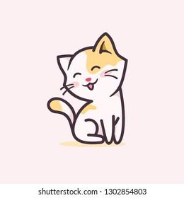 Happy smiling kitty cartoon character logo design illustration. cute/adorable cat mascot vector illustration