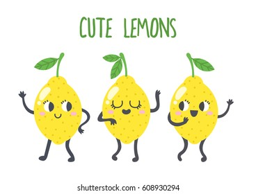 Happy smiling lemon characters dancing and smiling. Vector illustration