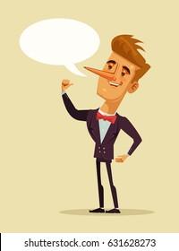 Happy smiling liar office worker businessman telling lie. Vector flat cartoon illustration