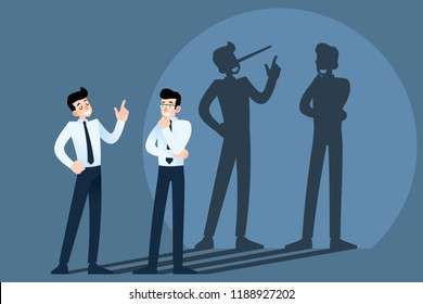 Happy smiling lies, cheat, hoax businessman character chatting in front of the wall with shadow of his long nose. Liar, lying people in business concept.