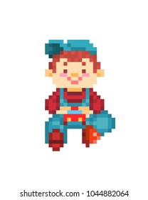 Happy smiling little boy in blue denim bib overall, cap and red sweatshirt sitting on the ground and playing with red toy car, 8 bit pixel art character isolated on white background.Kindergarten scene