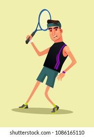 Happy smiling man gamer character play tennis. Vector flat cartoon illustration