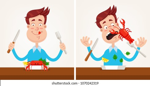494430973 Happy smiling man gourmet character gourmet is going to eat roasted grilled  lobster dish and holding