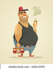 Happy smiling man smoking cigarette and drinking beer. Vector flat cartoon illustration