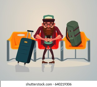 Happy smiling man tourist character waiting transport in waiting room on station and relaxing using phone internet. Vector flat cartoon illustration
