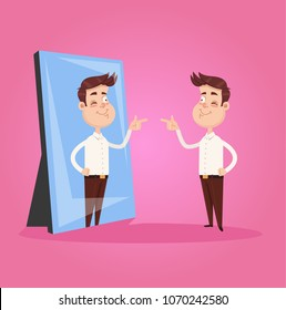 Happy smiling narcissistic businessman office worker character looks at mirror and pointing finger to reflection. Self support motivation concept. Vector flat graphic design isolated element