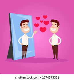 Happy smiling narcissistic businessman office worker character looks at mirror and pointing finger to reflection. Self support love motivation egoistical concept. Vector flat cartoon design graphic