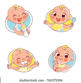 Happy smiling newborn boy or girl. Collection of baby portraits in different situations. Logo design template. Funny cartoon character. Vector illustration. Isolated on white background
