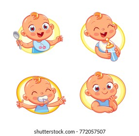 Happy smiling newborn boy or girl. Collection of toddler portraits in different situations. Logo design template for baby food and kids hygiene products and children's store. Funny cartoon character