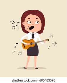 Happy smiling office worker business woman character sing song and play guitar on corporate event in club. Vector flat cartoon illustration