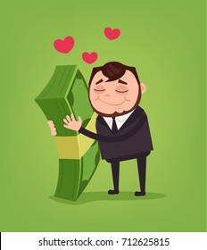Happy smiling office worker businessman character hug big money. Vector flat cartoon illustration