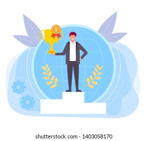 Happy smiling office worker winner businessman standing on podium and holding golden cup. Vector flat graphic design isolated illustration