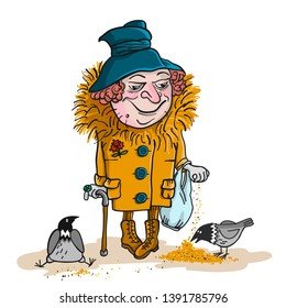 Happy smiling old grandmather character feeding doves. Vector flat cartoon illustration