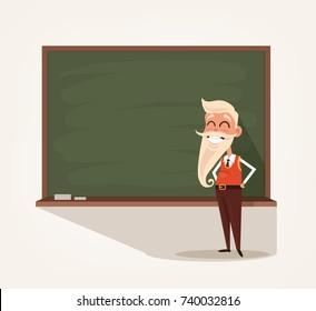 Happy smiling old professor teacher standing near blackboard. Education concept. Vector flat cartoon illustration