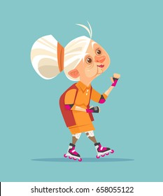 Happy smiling old woman grandmother character on roller skating. Vector flat cartoon illustration