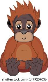 Happy, smiling orangutan sitting. Cartoon drawing