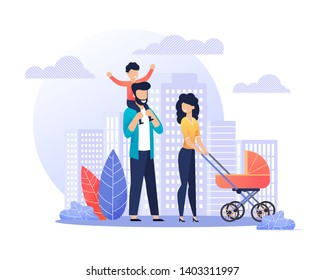 Happy Smiling Parents on Walk Flat Illustration. Young Married Couple with Children Strolling. Mother Carrying Baby Pram, Father Riding Son on Shoulders. Vector Cartoon Cityscape Street