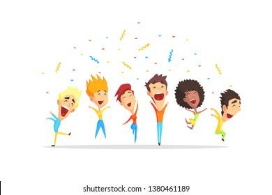 Happy Smiling People Having Fun, Young Men and Women Jumping Cartoon Vector Illustration