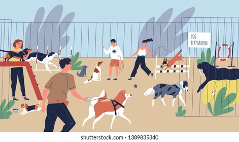 Happy smiling people playing with dogs at playground. Cute funny men and women walking and training domestic animals. Pets and their owners at city park. Flat cartoon colorful vector illustration.